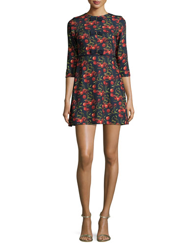 Fyra Cheerful Cherry-Print Dress, Navy