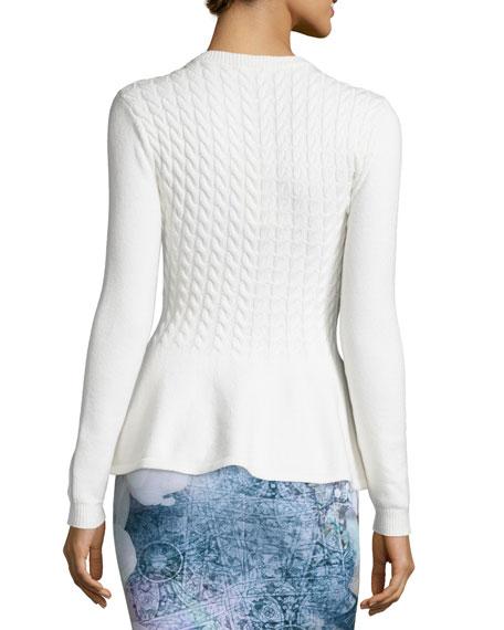 Mereda Cable-Knit Peplum Sweater, Natural