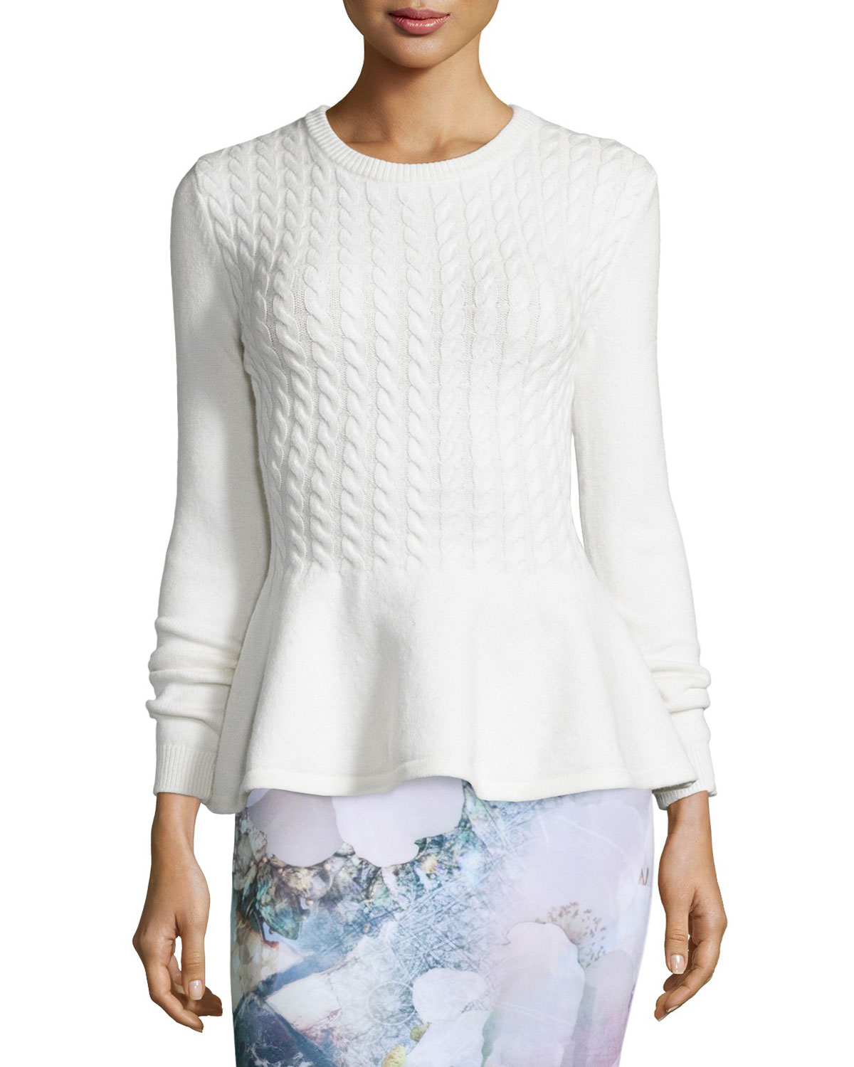 34c1ff8154e1 Ted Baker London Mereda Cable-Knit Peplum Sweater