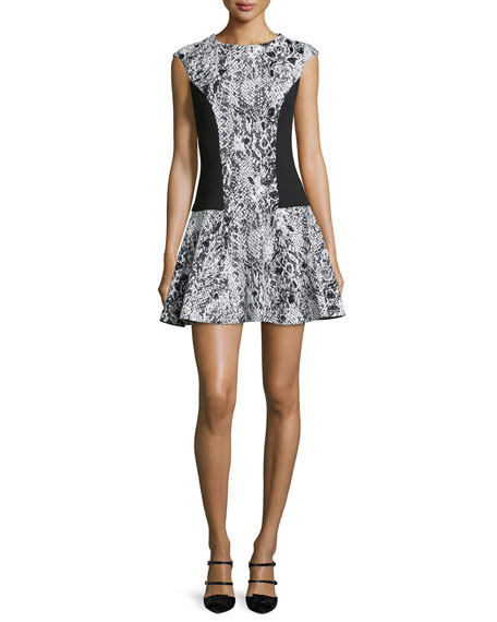 Ted Baker London Liri Cap-Sleeve Combo Dress, Black