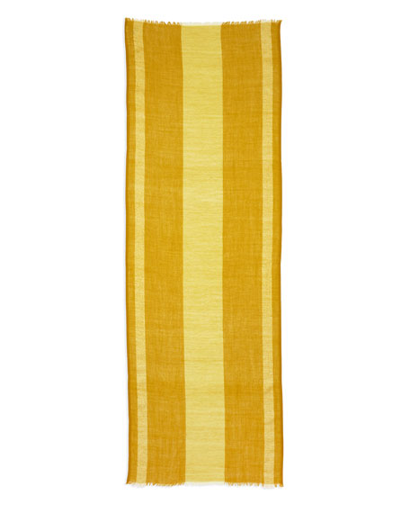 Striped Metallic-Border Scarf, Mustard Seed