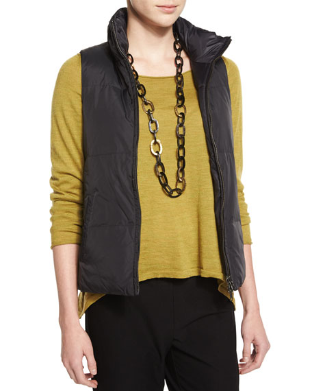 Eileen Fisher Puffer Reversible Vest, Black