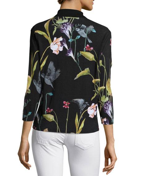 Sundryy Floral-Print Top, Black