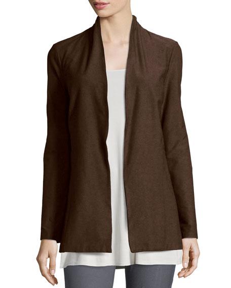 Eileen Fisher Long Washable Crepe Shawl-Collar Jacket, Chocolate,