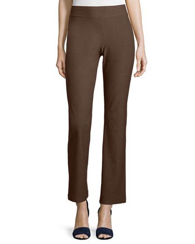 Washable Crepe Slim Boot-Cut Pants, Chocolate, Petite