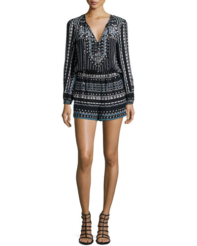 Nancie Long-Sleeve Multipattern Romper, Black