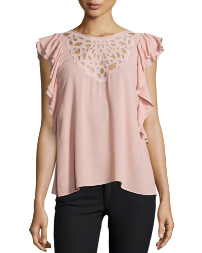Haidee Sleeveless Laser-Cut Crepe Blouse, Shadow Blush