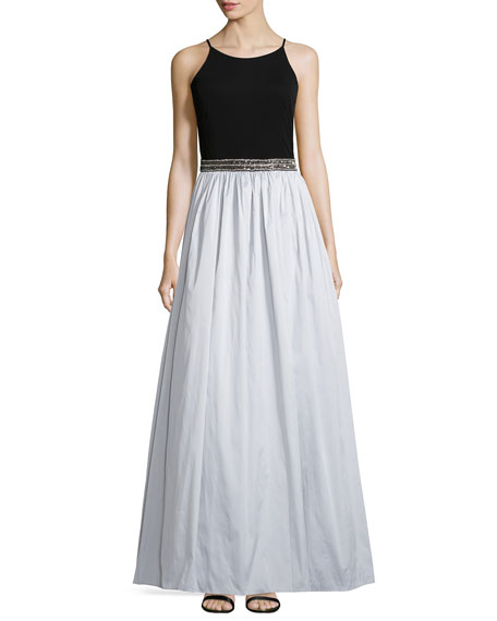 Aidan Mattox Sleeveless Beaded-Waist Combo Gown
