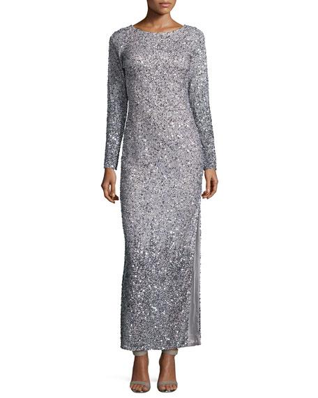 Aidan Mattox Long-Sleeve Sequined Gown