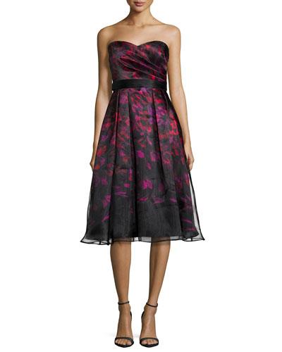 Strapless Printed Tea-Length Cocktail Dress