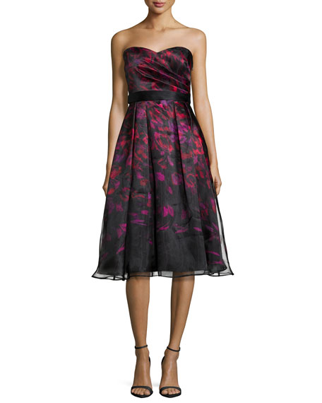 Strapless Printed Tea-Length Cocktail Dress