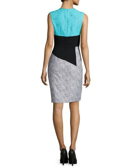 Crewnck Colorblock Sheath Dress, Turquoise