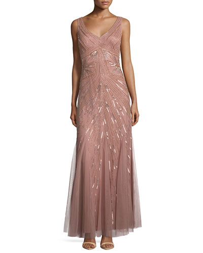 Sleeveless Two-Tone Beaded Gown