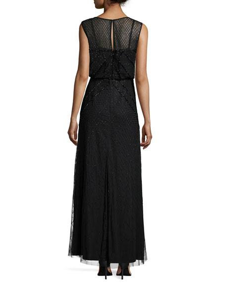 Sleeveless Sequined Blouson Column Gown