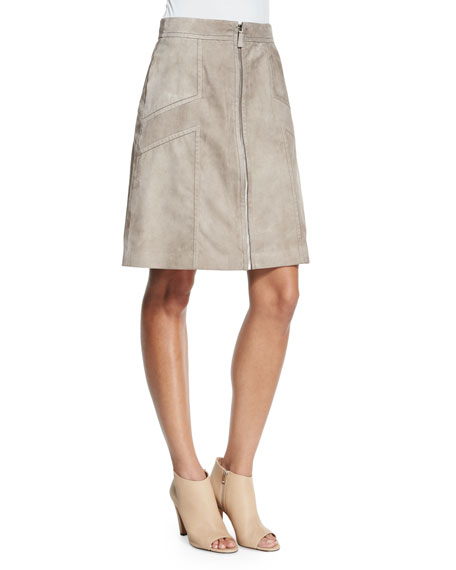 Lafayette 148 New York Turner Zip-Front Suede Skirt