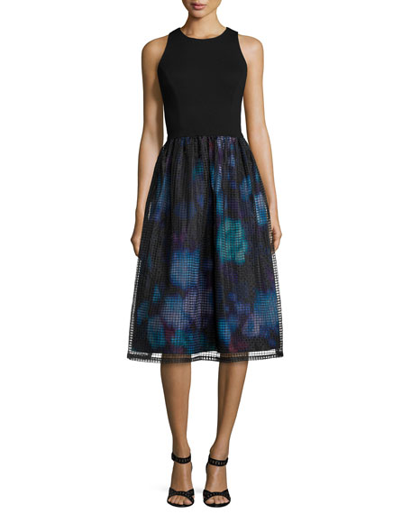 Aidan by Aidan MattoxSleeveless Combo Printed-Skirt Dress