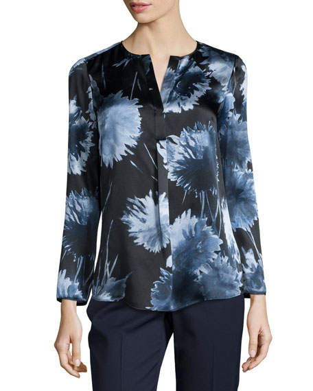 Lafayette 148 New York Samantha Long-Sleeve Floral-Print Blouse, Ink Multi