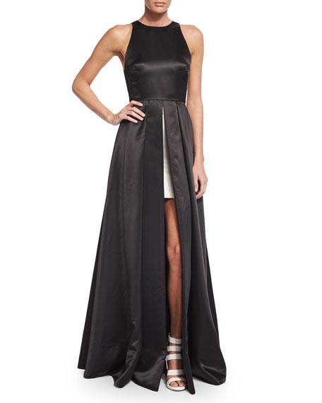 Alice + Olivia Clarabelle Sleeveless Split-Skirt Gown