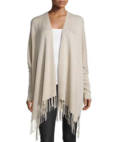 Long-Sleeve Open-Front Jacket, Oatmeal