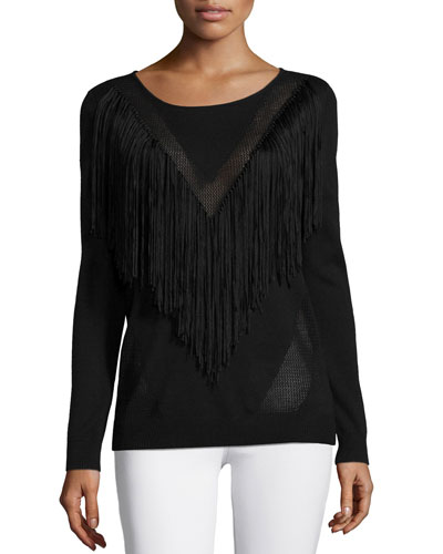 Long-Sleeve Top W/Fringe Detail, Black