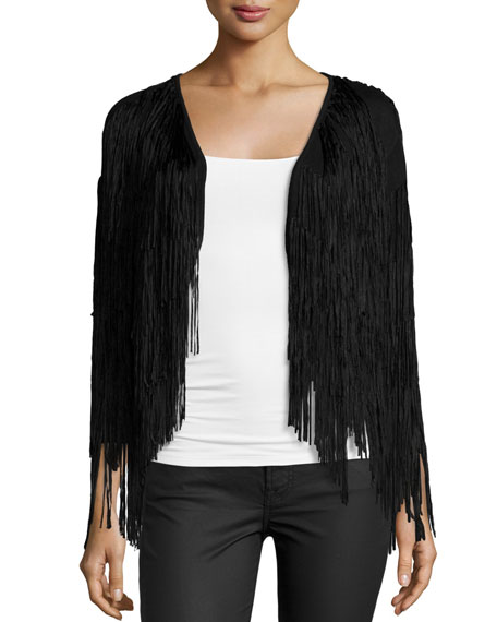 Ella Moss Long-Sleeve Fringe Jacket, Black