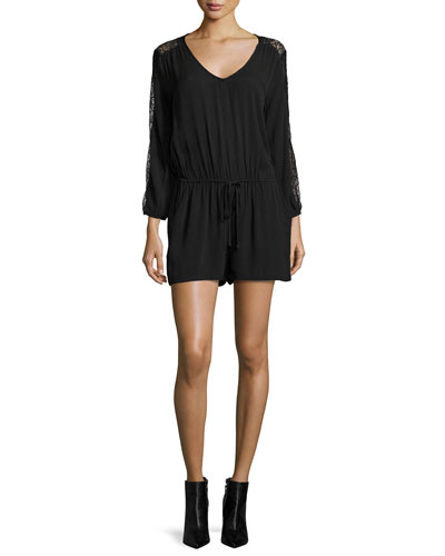 Cropped-Sleeve Lace-Inset Romper, Black