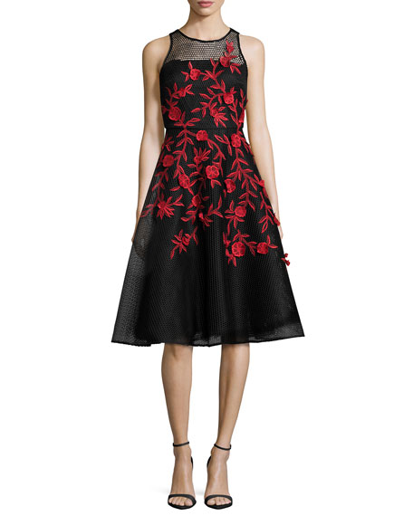 Kasai Embroidered Fit & Flare Cocktail Dress