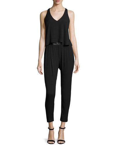 Sleeveless Strappy-Back Jumpsuit, Black
