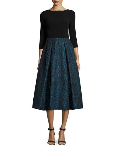 3/4-Sleeve Combo Tea-Length Dress