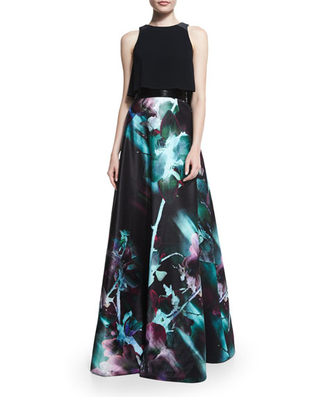Monique Lhuillier Sleeveless Two-Piece Full-Skirt Gown