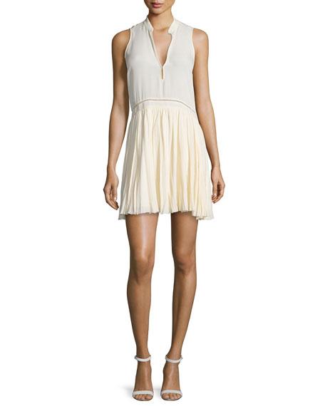 Elizabeth and James Misha Sleeveless Pleated Dress, Vanilla