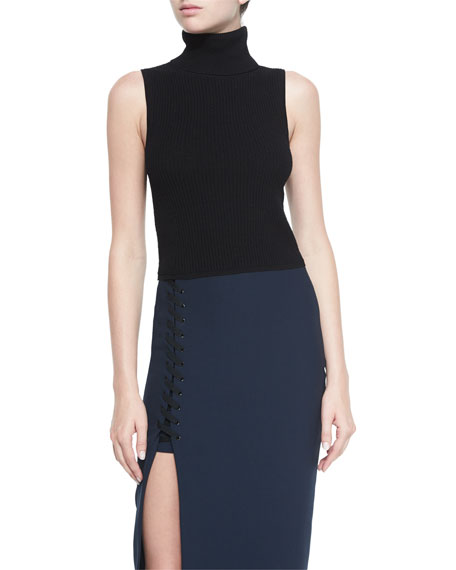 Elizabeth and James Turtleneck Sleeveless Top, Black