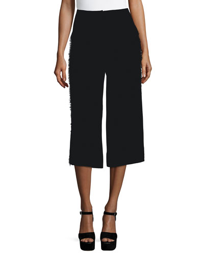 Frayed Presli Cropped Trousers, Black