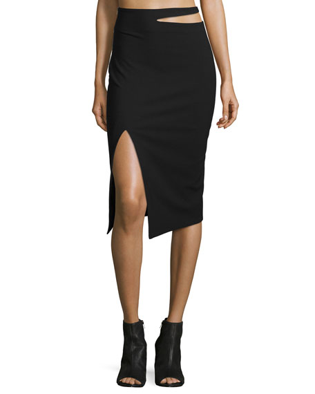 Elizabeth and James Perla Cutout-Waist Pencil Skirt, Black