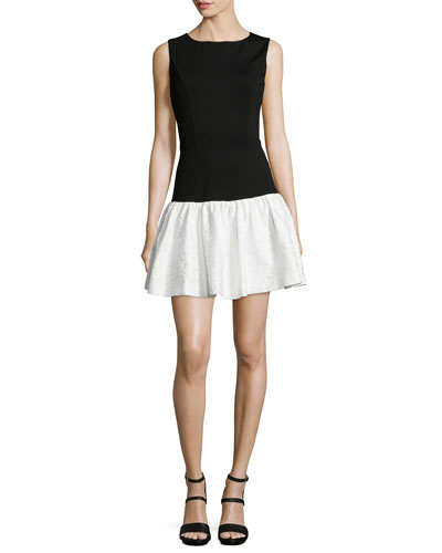 Hepburn Sleeveless Combo Dropped-Waist Dress