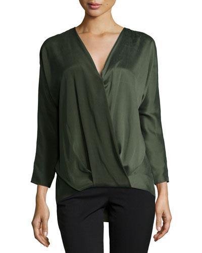 Ally Long-Sleeve Blouson Top, Alligator Green