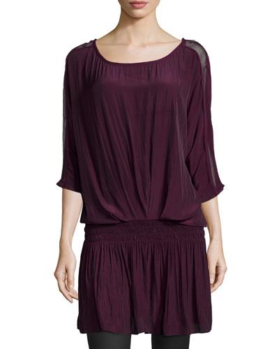 Susan Blouson Dress, Cranberry