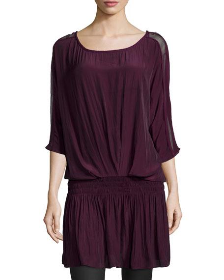 Ramy Brook Susan Blouson Dress, Cranberry