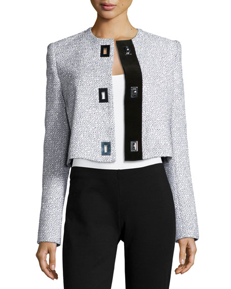 Proenza Schouler Long-Sleeve Cropped Jacket, Black/White