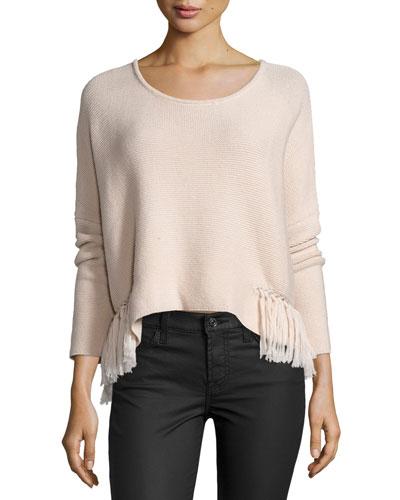 Kelly Ribbed Sweater W/Fringe Trim, Blush