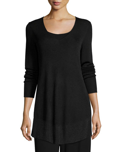 Long-Sleeve V-Neck Shimmer Tunic, Petite