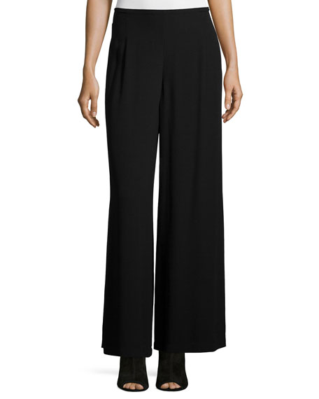 Eileen Fisher Wide-Leg Georgette Pants, Black