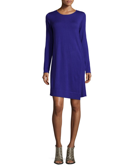 Eileen Fisher Long-Sleeve Merino Jersey Asymmetric Dress, Plus