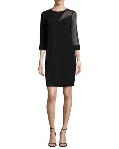 3/4-Sleeve Sheer-Inset Shift Dress