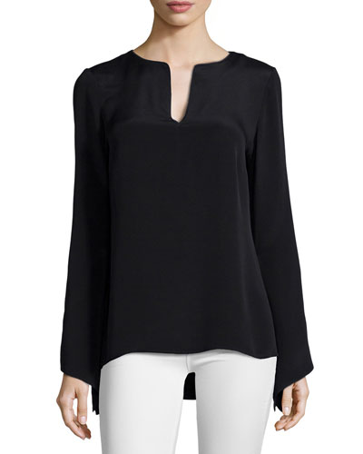Cole Long-Sleeve Split-Neck Blouse, Black