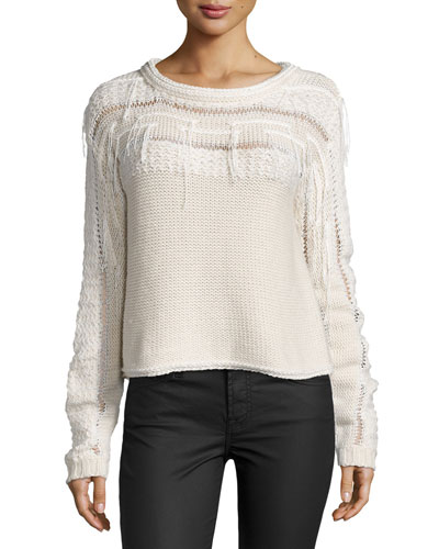 Long-Sleeve Knit Jessica Sweater, Ivory