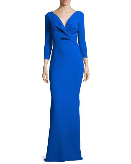 La Petite Robe di Chiara Boni Ilenia 3/4-Sleeve Twist-Front Long Gown
