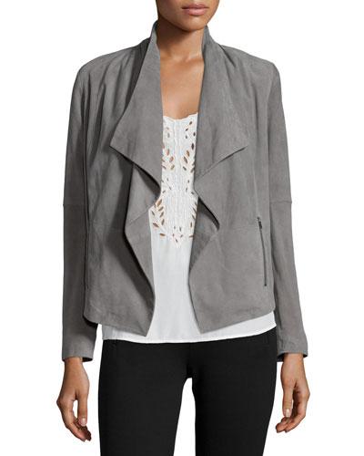 Olivine Drape-Front Suede Jacket