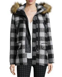 Roni River Plaid Coat with Faux-Fur Hood