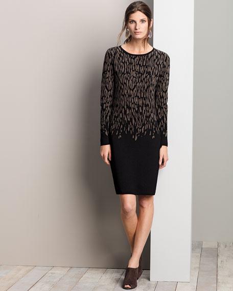 Crewneck Jacquard Long-Sleeve Dress